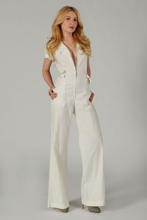 476cca9e3c6 70s white BELL BOTTOM Deep-V Jumpsuit XS pants flared zipper wide leg.  LOVED em!