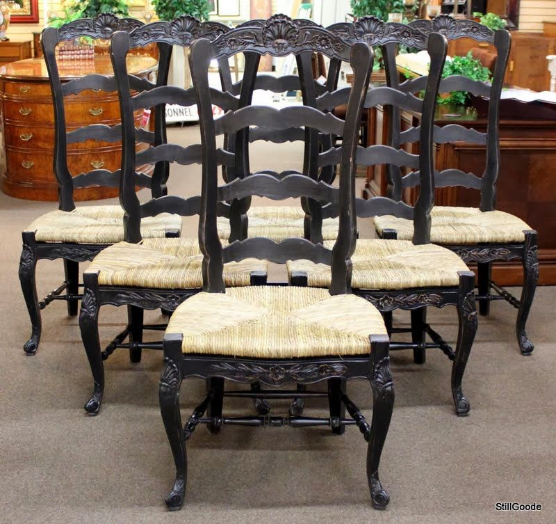 Set of 6 black country french dining chairs with wide rush seats and ...