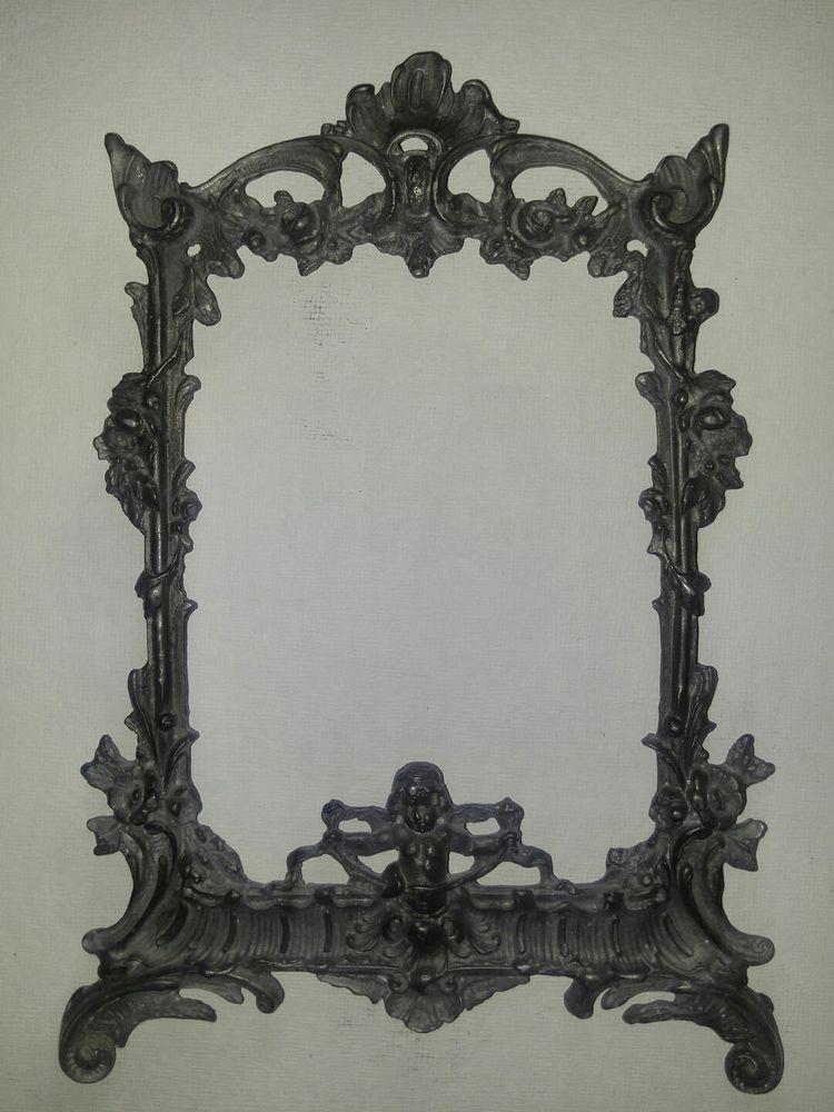 Rare Ornate Cast Iron Victorian antique Frame Cherub Angel flowers ...