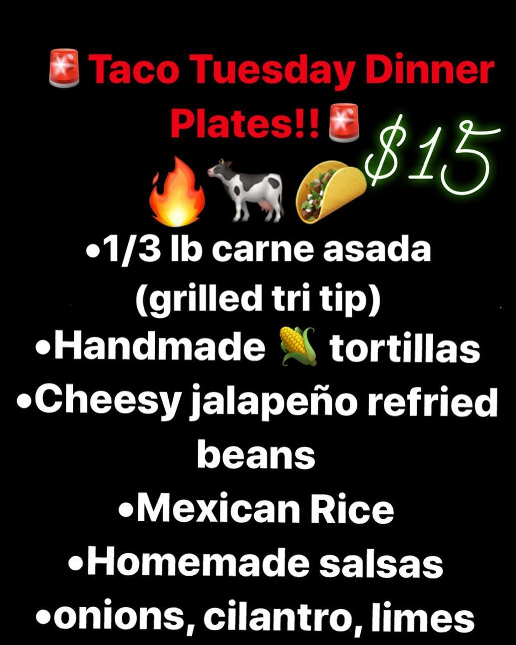 Order your taco plate for tonight!! (11/19)