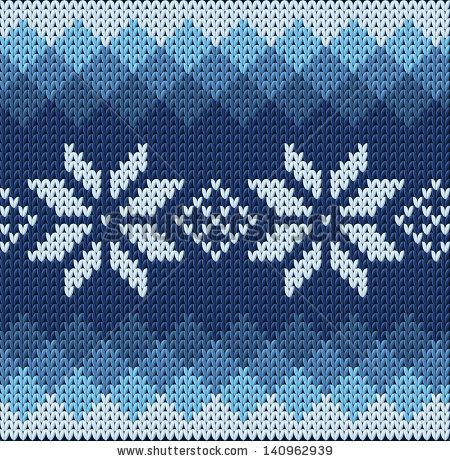 Knitting Jacquard Stitch : Detailed knitted blue jacquard pattern with white flowers - stock vector kn...