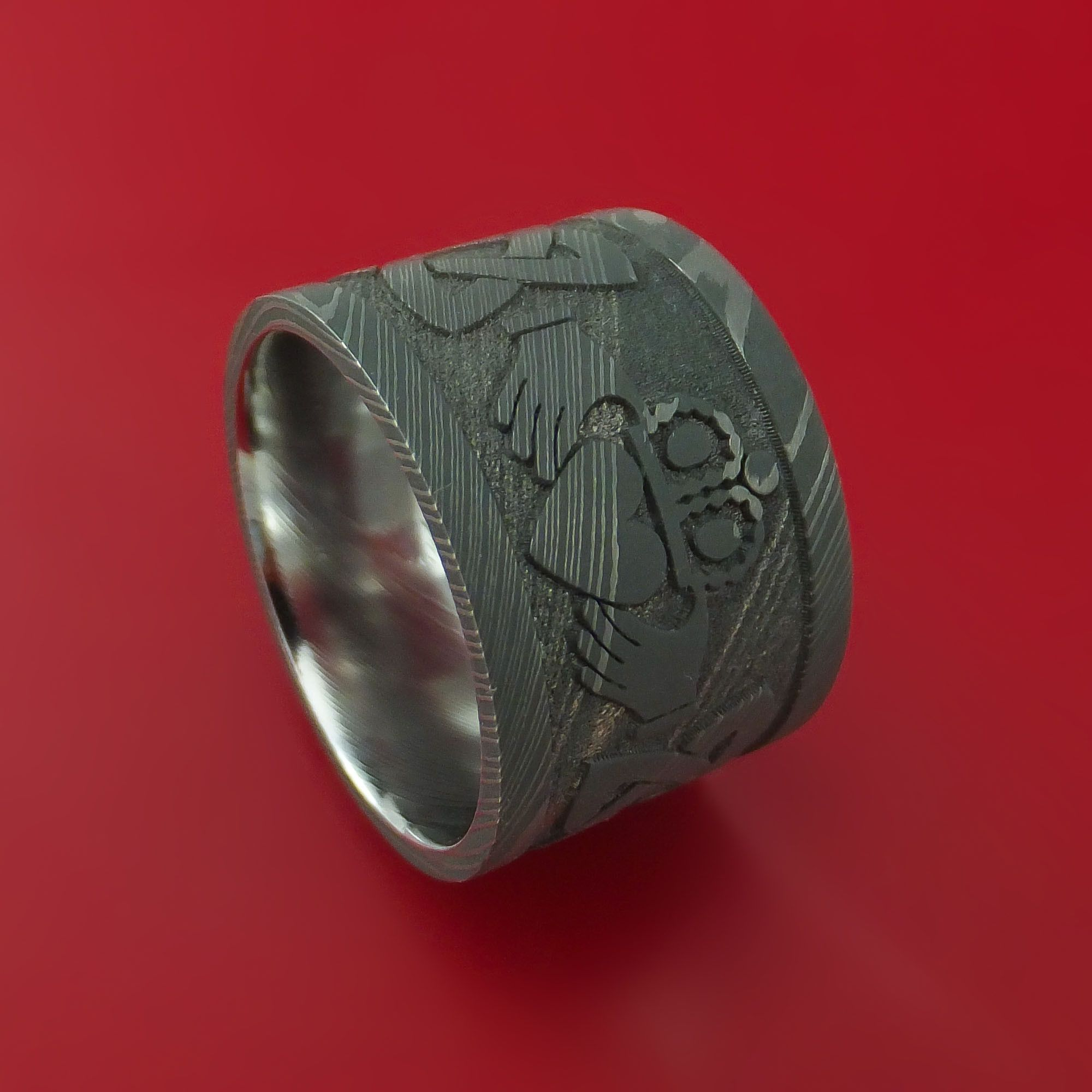 Wide Damascus Steel Celtic Irish Claddagh Ring Hands Clasping