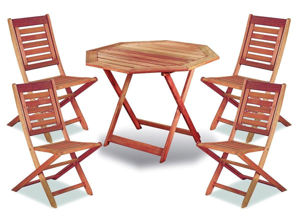 juego mesa madera eucalipto octogonal sillas plegables