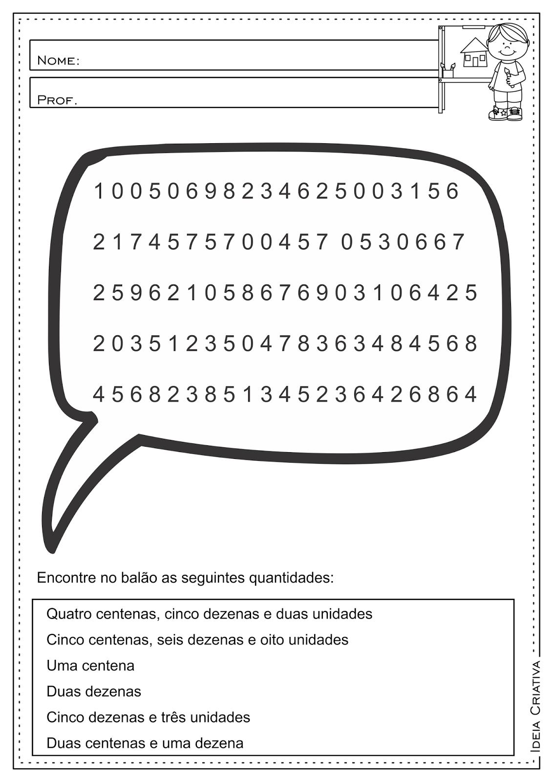 Atividades Educativas Sequência Numérica - Centena, Dezena e Unidade ...