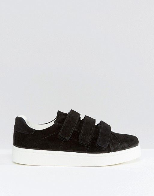 Pieces | Pieces Siri Black Suede Velcro Sneakers | To Carry