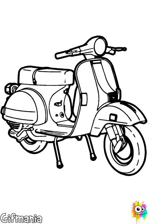 Coloring 43 Drawing Scooter Sketsa Ilustrasi Karakter Halaman