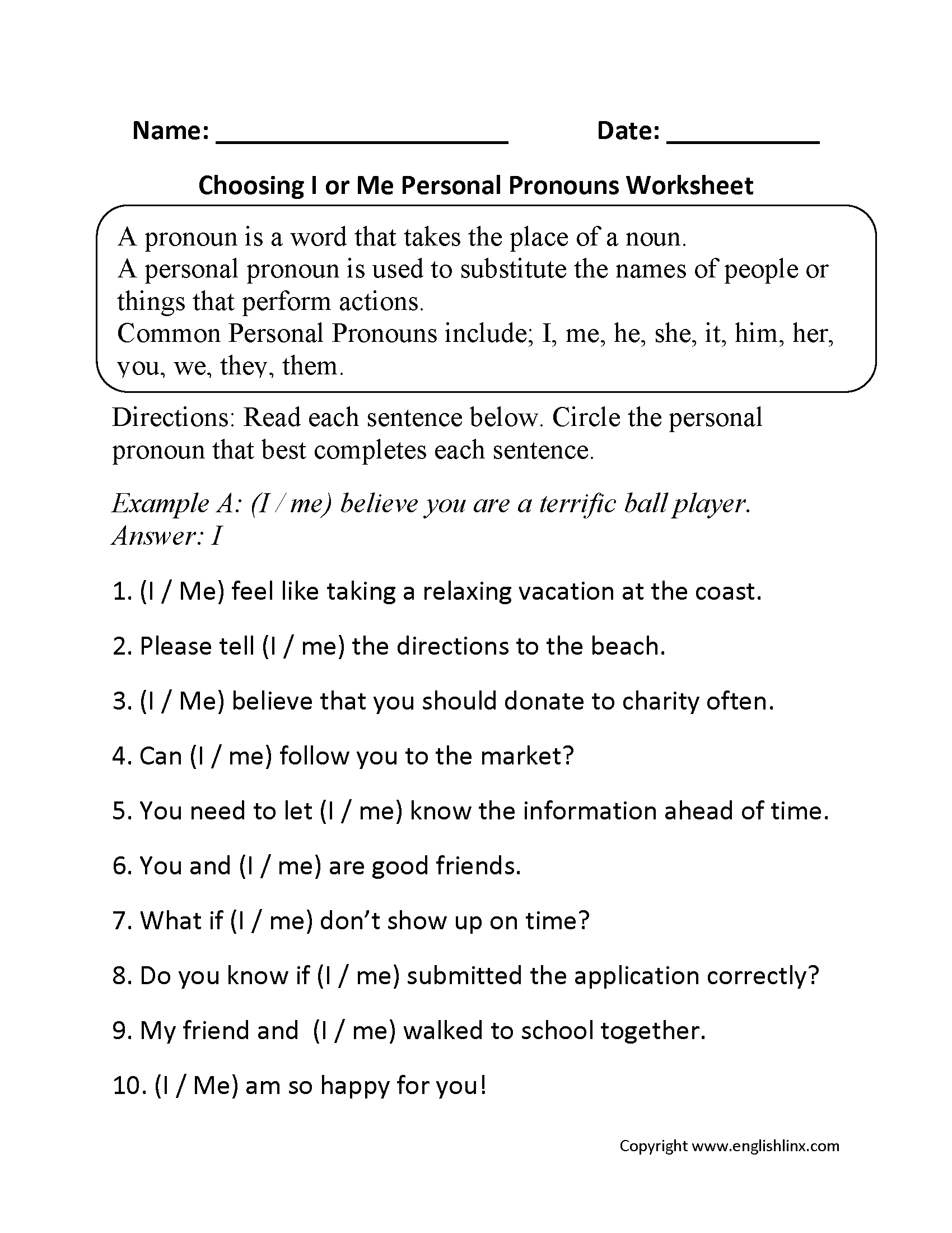 I and Me Personal Pronouns Worksheets Part 1 Beginner   Pronoun worksheets [ 2200 x 1700 Pixel ]