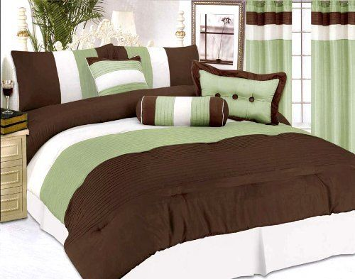 "7 Pc Modern Satin Bedding Comforter Set King Sage/Brown by SC. $81.48. 2 Pcs King Pillow Shams (20"" x 36""). 1 Pc Square Cushion. 1 Pc Bedskirt (78"" x 80"" + 14"" Drop). 1 Pc King Size Comforter (86"" x 86""). 1 Pc Breakfast Pillow, 1 Pc Neckroll. 7 Pcs Modern Style Comforter Set  This is a very attractive comforter set.  This comforter set will give your room a new look!      Style#: Echo     Condition: Brand New     Size: King     Design: Modern     Color: Sage/Brown ..."