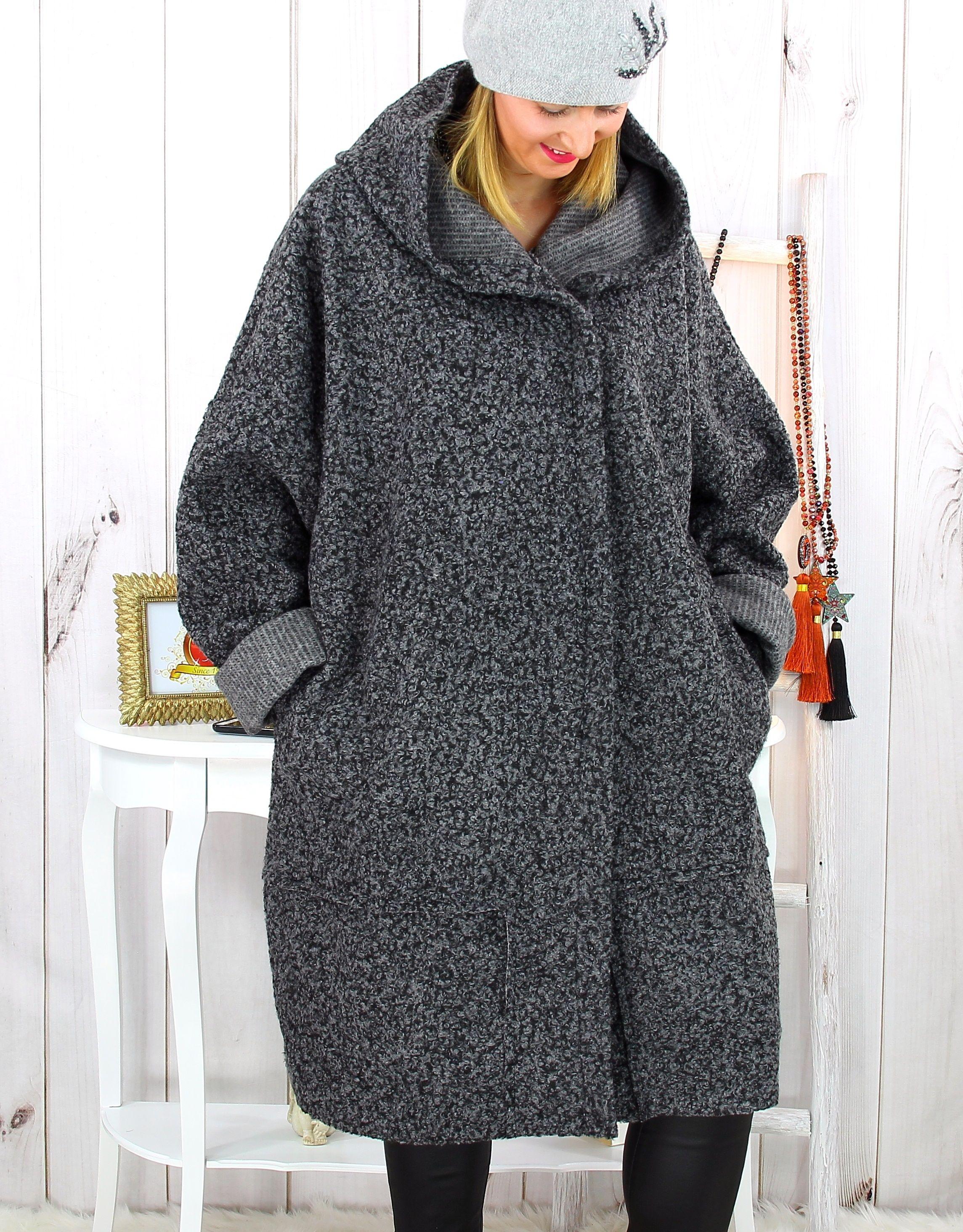 Manteau capuche bouclette grande taille gris clair VITTO