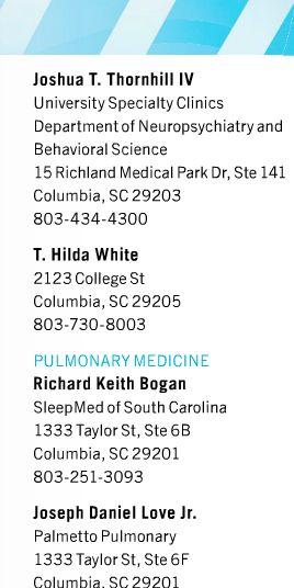 Best Doctors Of The Midlands 2013 Psychiatry T Hilda White M D 2123 College St Columbia Sc 29205 Columbia Best Doctors Behavioral Science Psychiatry