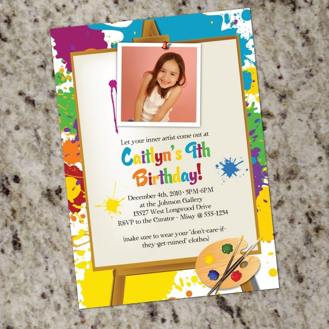 bday party invitation mail%0A Birthday Invitations   Attractive Art Party Invitation Design Ideas   Attractive White Art Party Invitation Design Idea With Colorful Paint  Motiveof Border