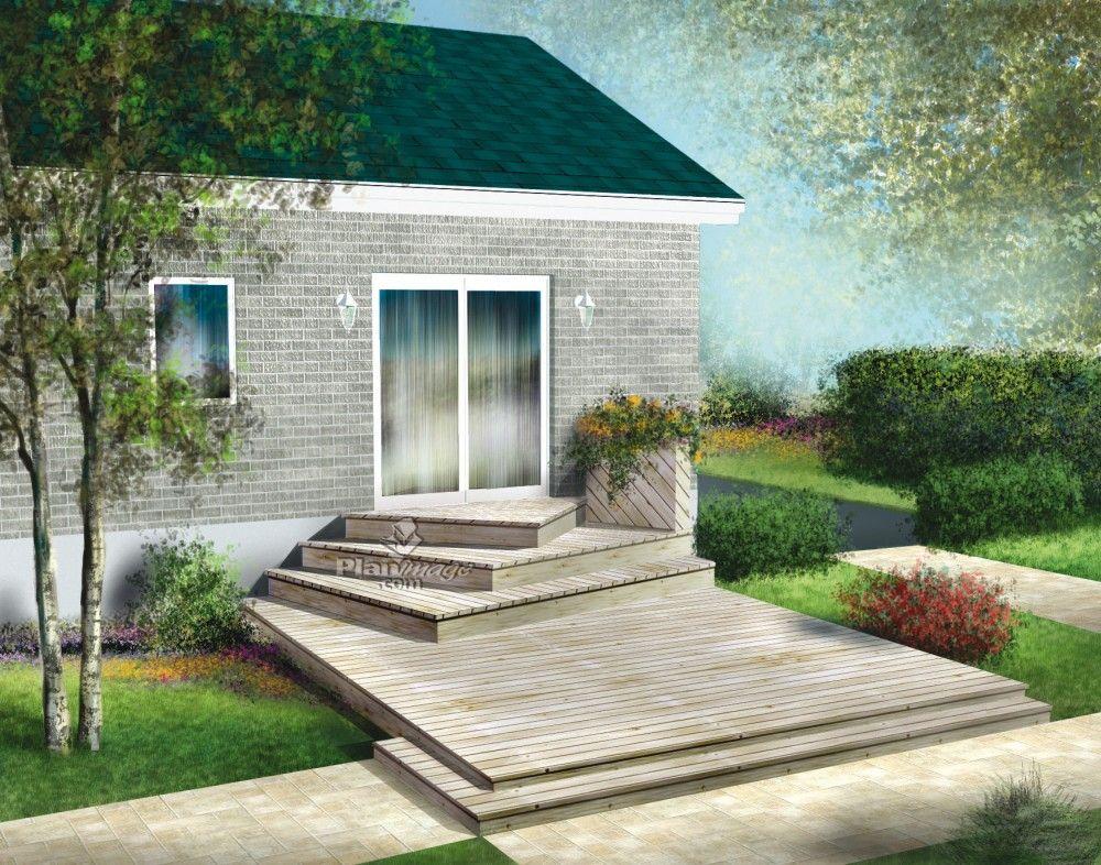 Située près du sol, cette terrasse en bois à palier unique avec
