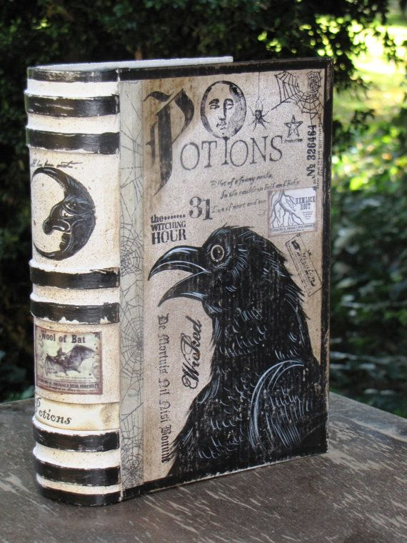 MEDIUM Vintage Paper Mache Halloween Witch's Book of POTIONS Box Hand Painted (CROW). $25.00, via Etsy.