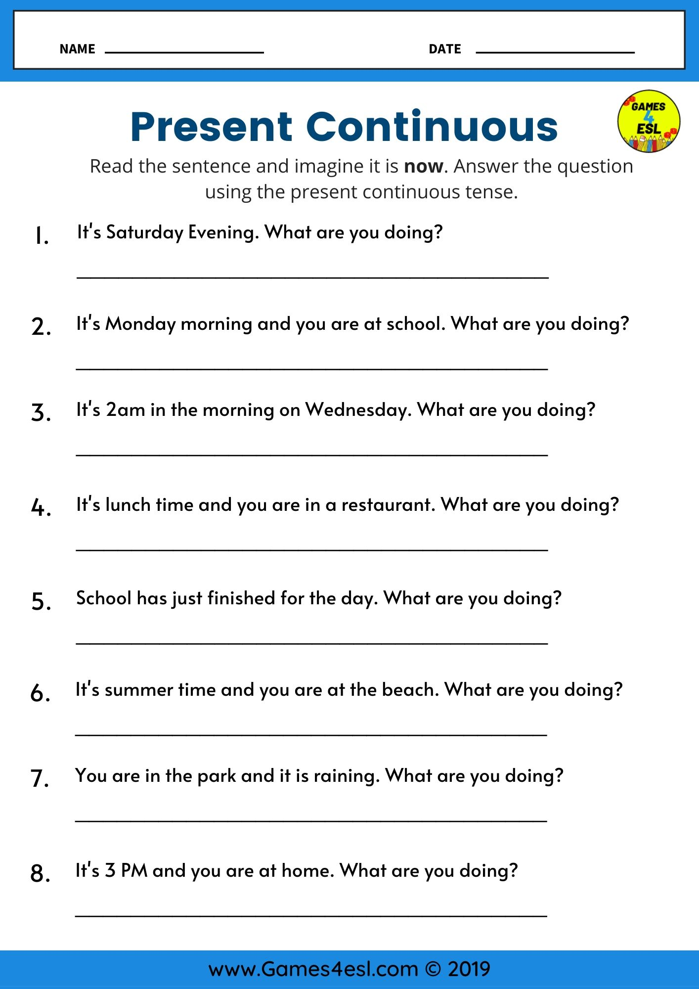 Present Continuous Questions Worksheet