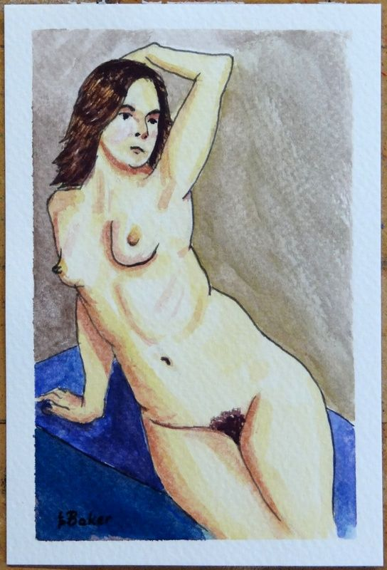Sitting nude - pen and watercolour on paper, painted by me.