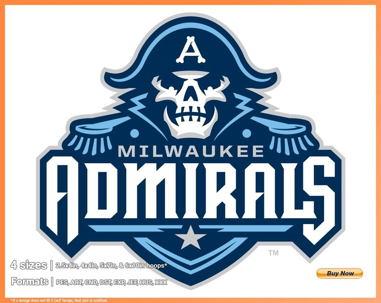 Milwaukee Admirals Hockey Sports Embroidery Logo In 4 Sizes Spln002677 Sports Logos Embroidery Vector For Nfl Nba Nhl Mlb Milb And More Sports Team Logos Milwaukee Admirals Sports Logo Inspiration