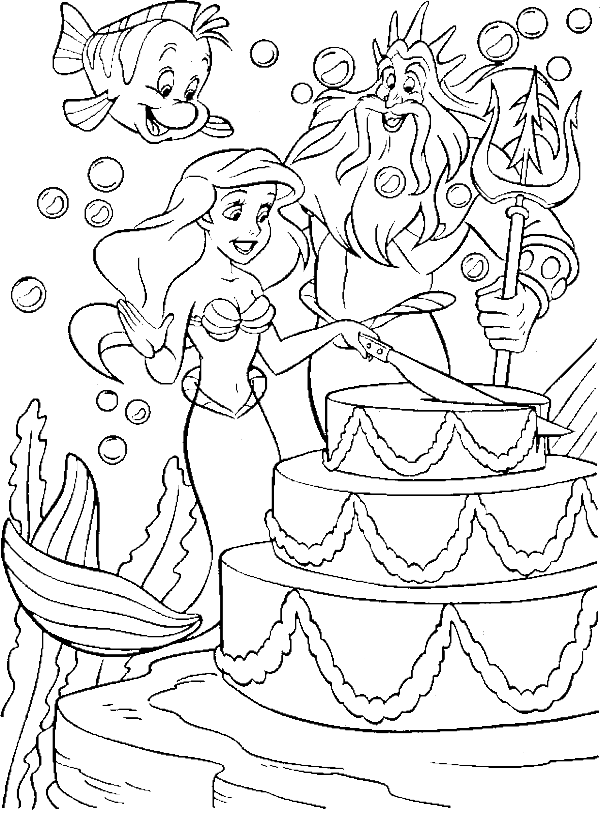 Birthday Princess Ariel Coloring Pages Disney Coloring Pages