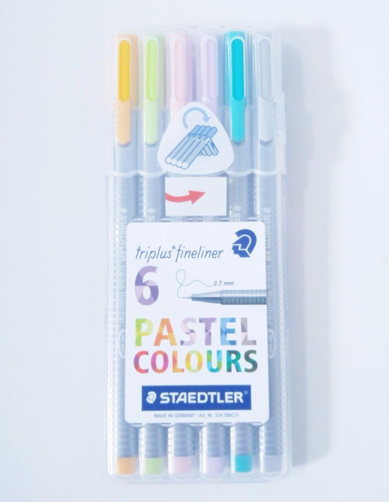 Staedtler Triplus Fineliner 334sb6cs1 0 3mm 6 Assorted Pastel