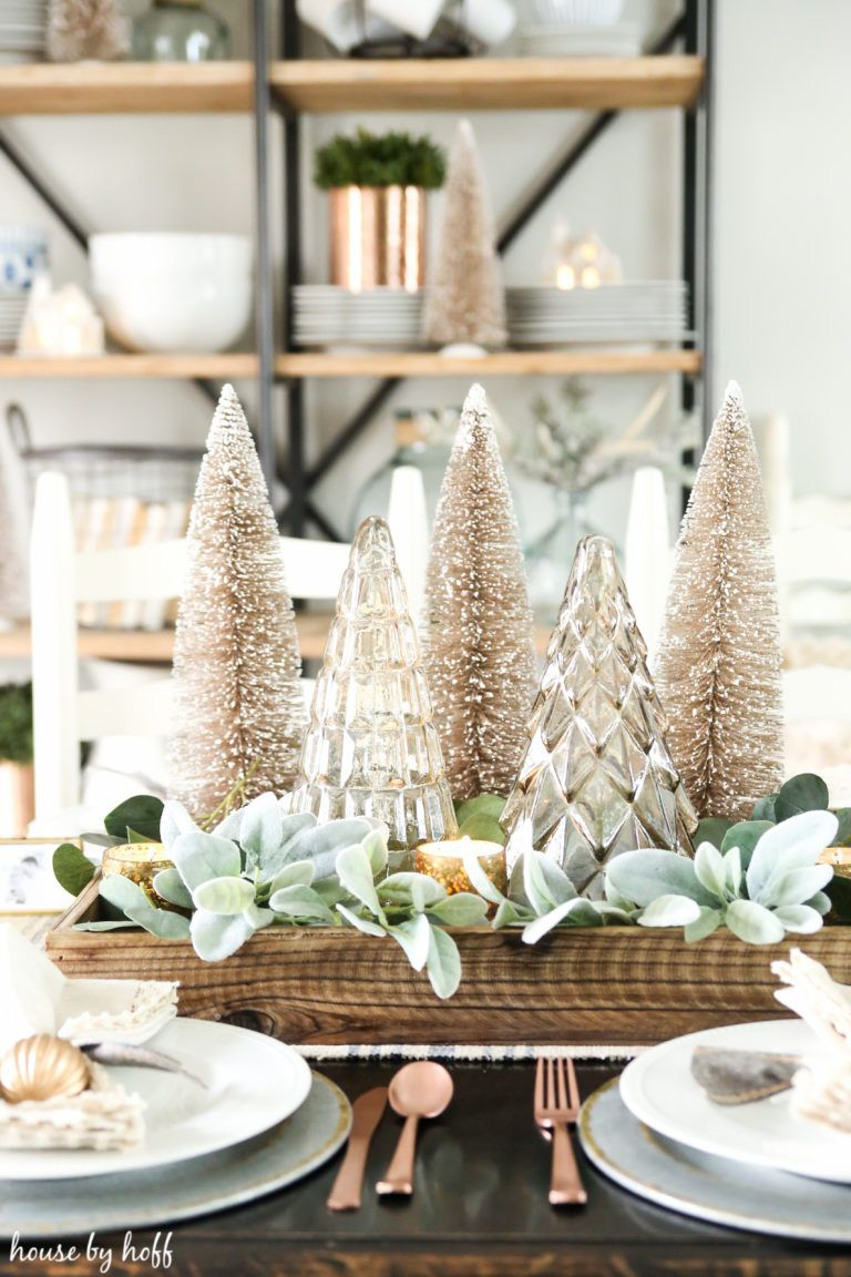 neutral and sparkly holiday dining room dining room christmas rh pinterest com