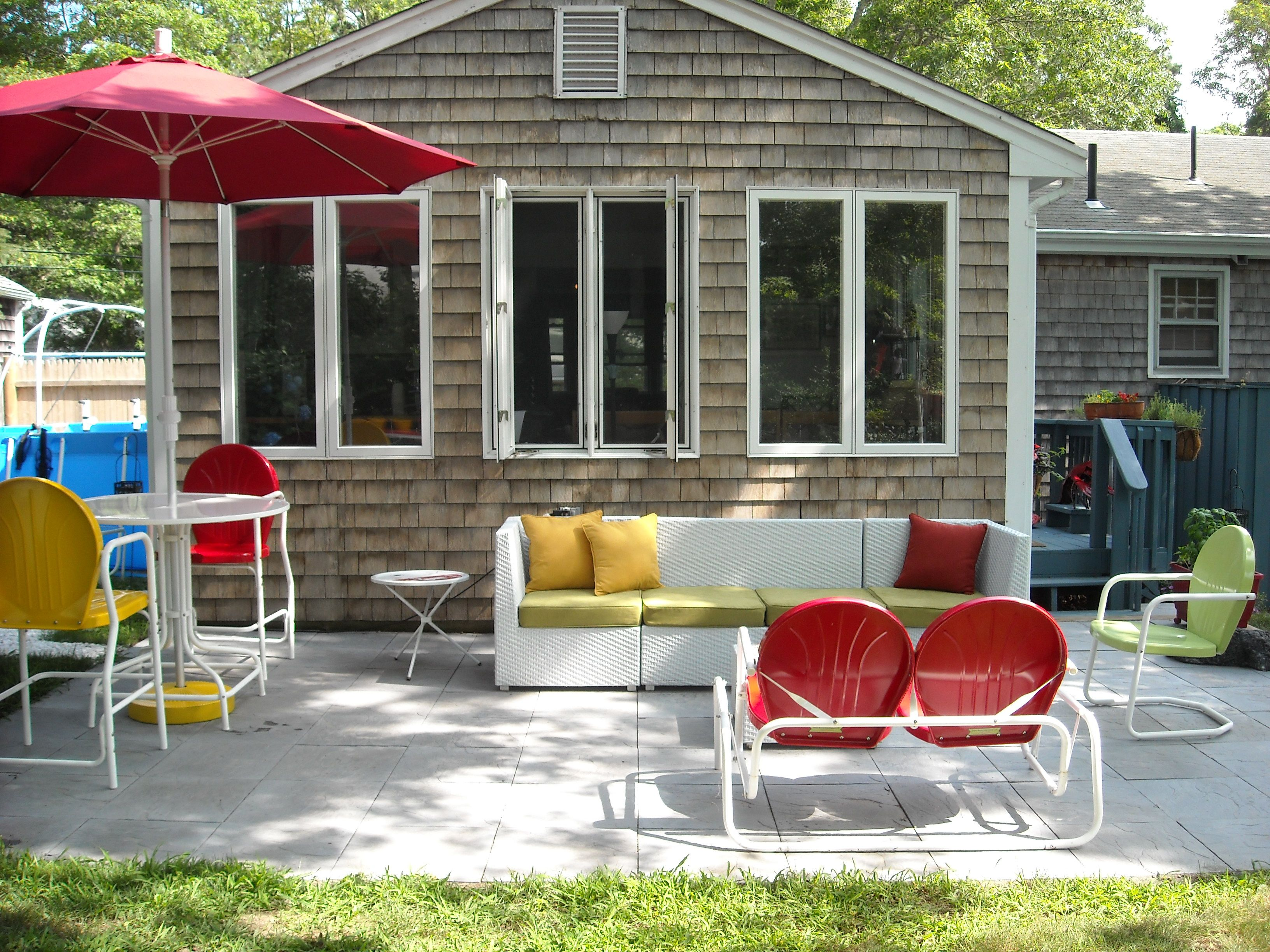 Whole Patio Showing Torrans Manufacturing Retro Metal Bar Table And Chairs,  Chair And Glider Available