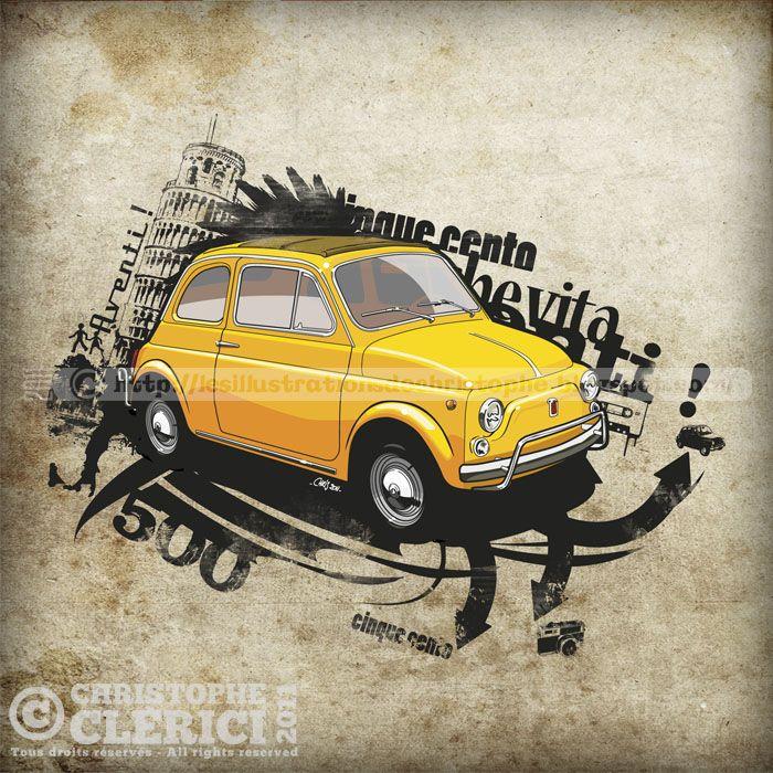 les illustrations de christophe fiat 500 1968 illustration of the car is cool voiture. Black Bedroom Furniture Sets. Home Design Ideas