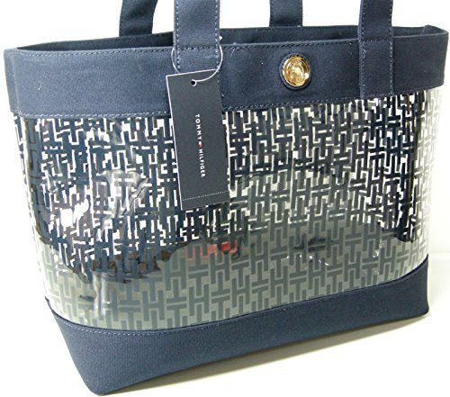 New Tommy Hilfiger Th Logo Clear Transparent See Though Tote Hand Bag Purse Blue Accessorising Brand Name Designer Handbags For Carry Wear Share If Y Tote Purses And Bags Purses