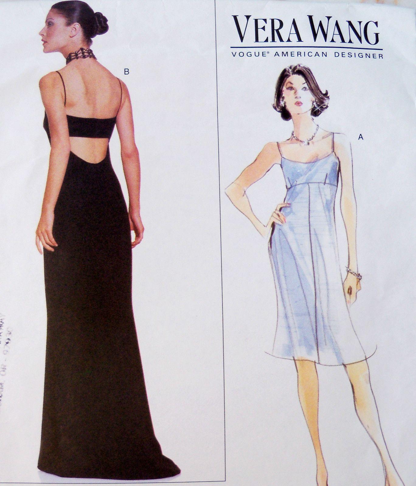 Vogue Sew Pattern 2257 Designer Vera Wang Evening Gown Column Dress ...