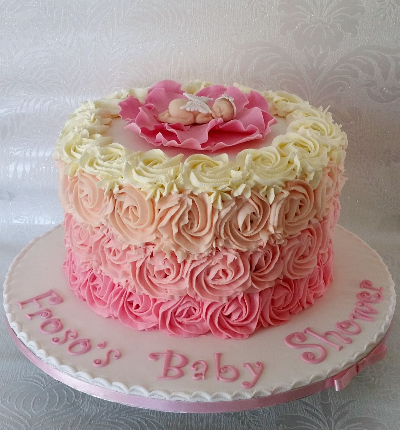 Flower Baby Shower Cake: Ombre Rose Piped Buttercream Effect Baby Shower Cake With