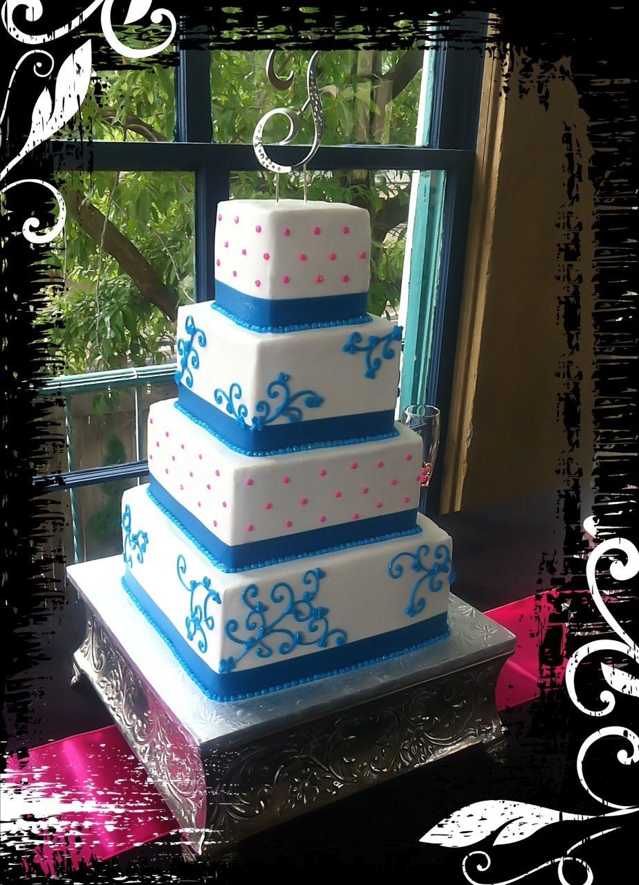 Pink u blue wedding cake wedding ideas pinterest pink blue