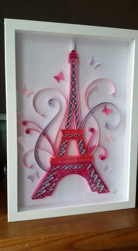 Pink Eiffel Tower Quilling  #Eiffel #Pink #quilling #Tower