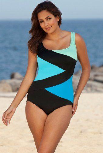 beach belle cool water plus size tricolor spliced swimsuit women's