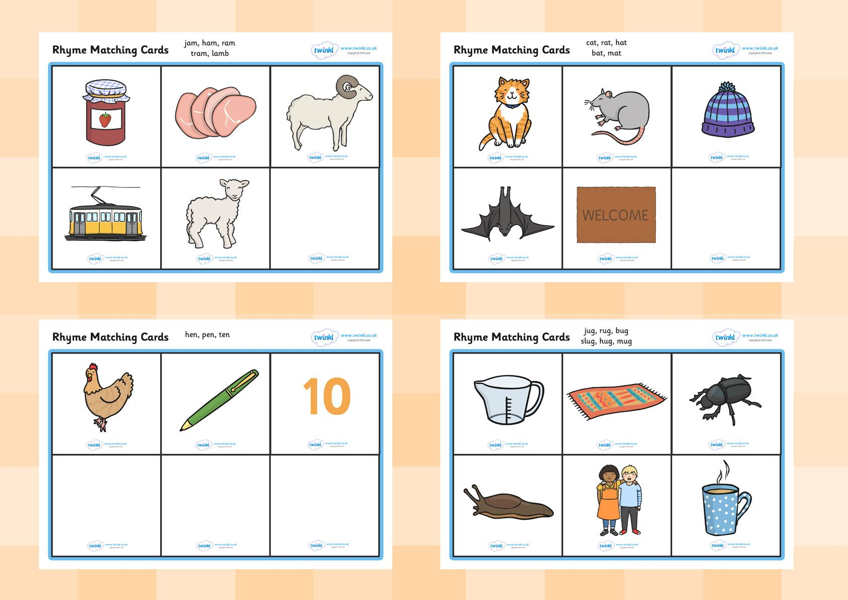 Twinkl Resources Gt Gt Rhyme Matching Cards Gt Gt Printable Resources For Primary Eyfs Ks1 And Sen