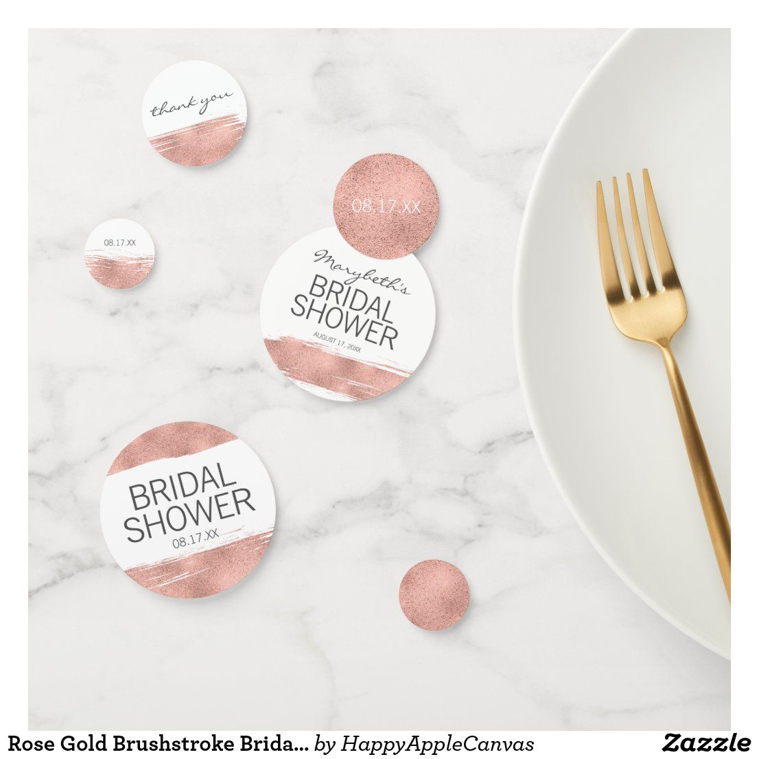 Rose Gold Brushstroke Bridal Shower Table Confetti