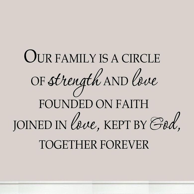 Our Family Is A Circle Of Strength And Love Founded On Faith .