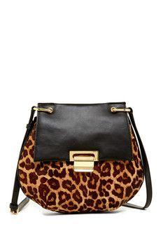 Ivanka Trump Leopard Genuine Calf Hair Saddle Bag