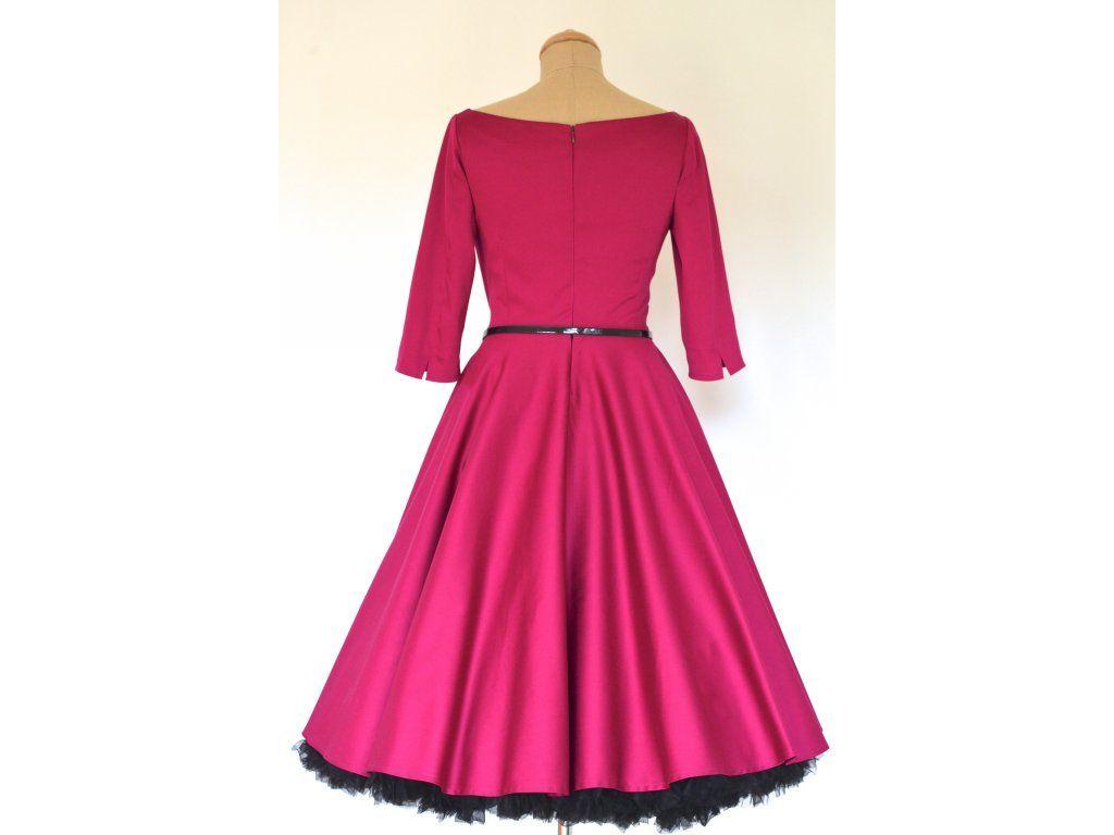 3f006bea33ea ADELE retro šaty vínové - více barev. lodičkový výstřih 3 4 rukáv kolová  sukně pásek s ozdobnou sponou délka sukně 60 cm