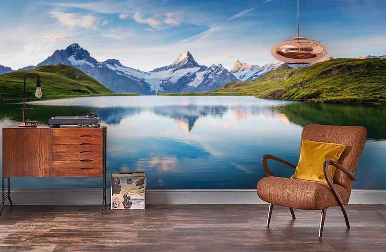 3d Calm Lake Mountain Scenery Wallpaper Removable Self Etsy Scenery Wallpaper Mural Wallpaper Wall Murals