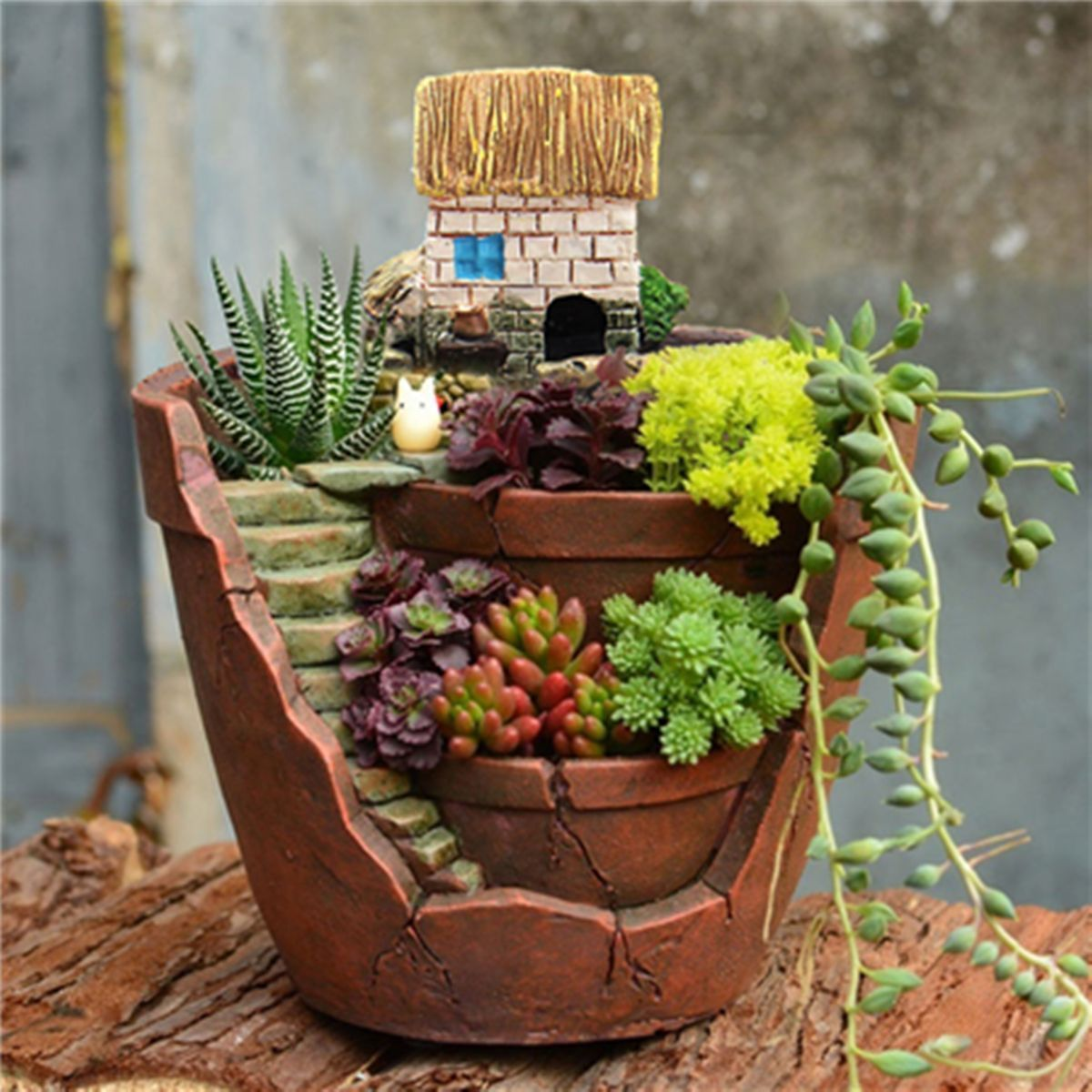 Succulent Herb Flower Basket Planter Plant Sky Bonsai Green Plants Resin Pot Garden House Home Dec Succulent Landscape Design Succulent Landscaping Flower Pots