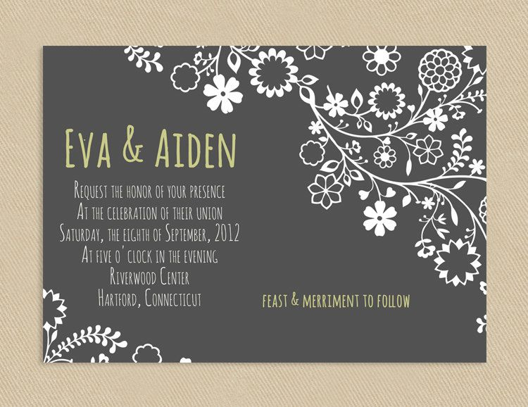 printable modern wedding invitation gray with white flowers 4x6 or
