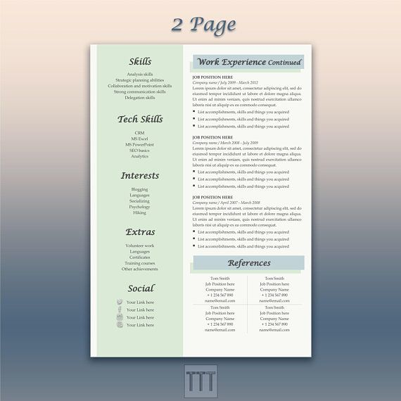 Blue Resume Creative And Cover Letter Template Google Doc Modern Bundle CV Temp