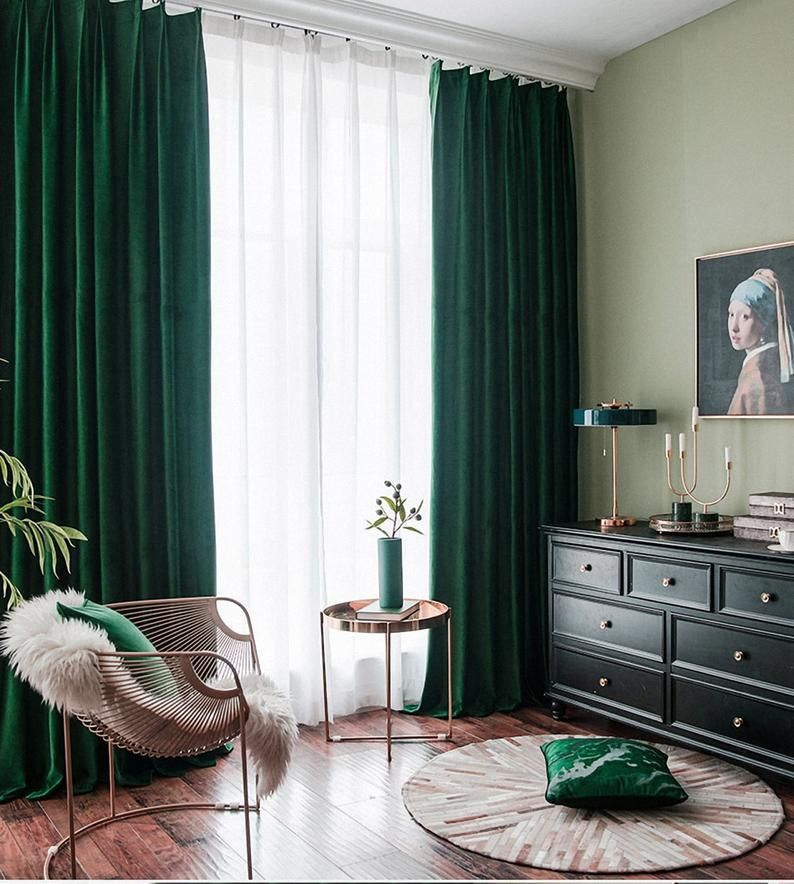 100 Colors Pair Of Luxury Velvet Curtains Solid Color Etsy Green Curtains Living Room Living Room Green Curtains Living Room