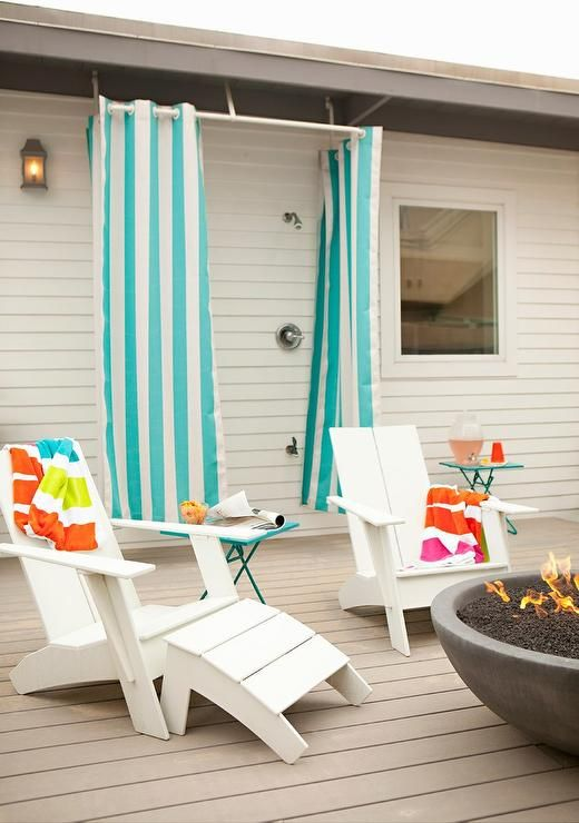 Fun Fabulous Outdoor Deck Features An Shower Finished With Turquoise Blue Striped Curtains