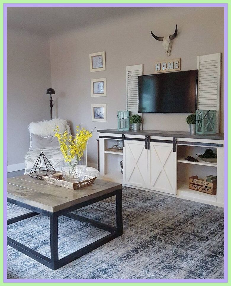 97 Reference Of White Tv Stand And End Tables In 2020 Farm House Living Room Farmhouse Style Living Room Industrial Farmhouse Living Room