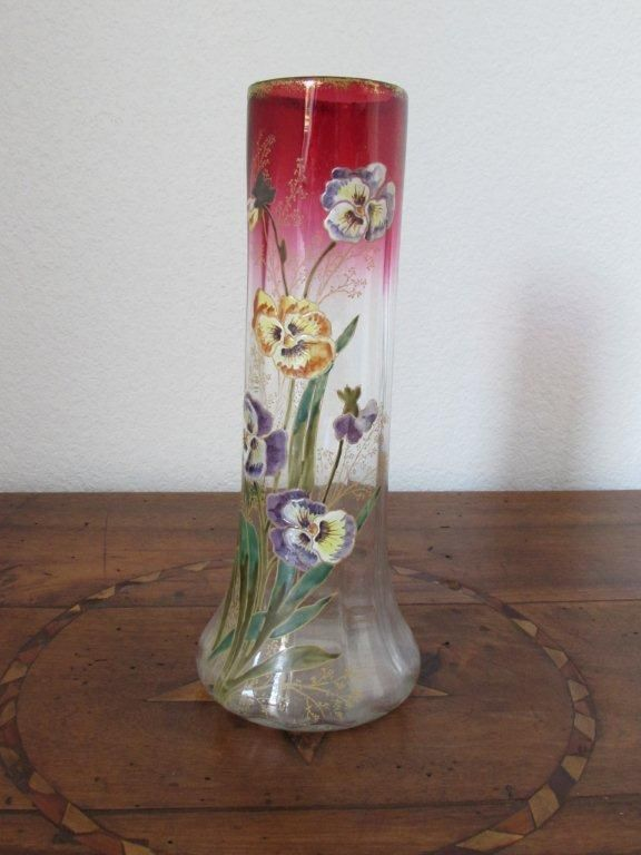 vase ancien polylob verre maill d cor de pens es legras st denis art nouveau art vases. Black Bedroom Furniture Sets. Home Design Ideas