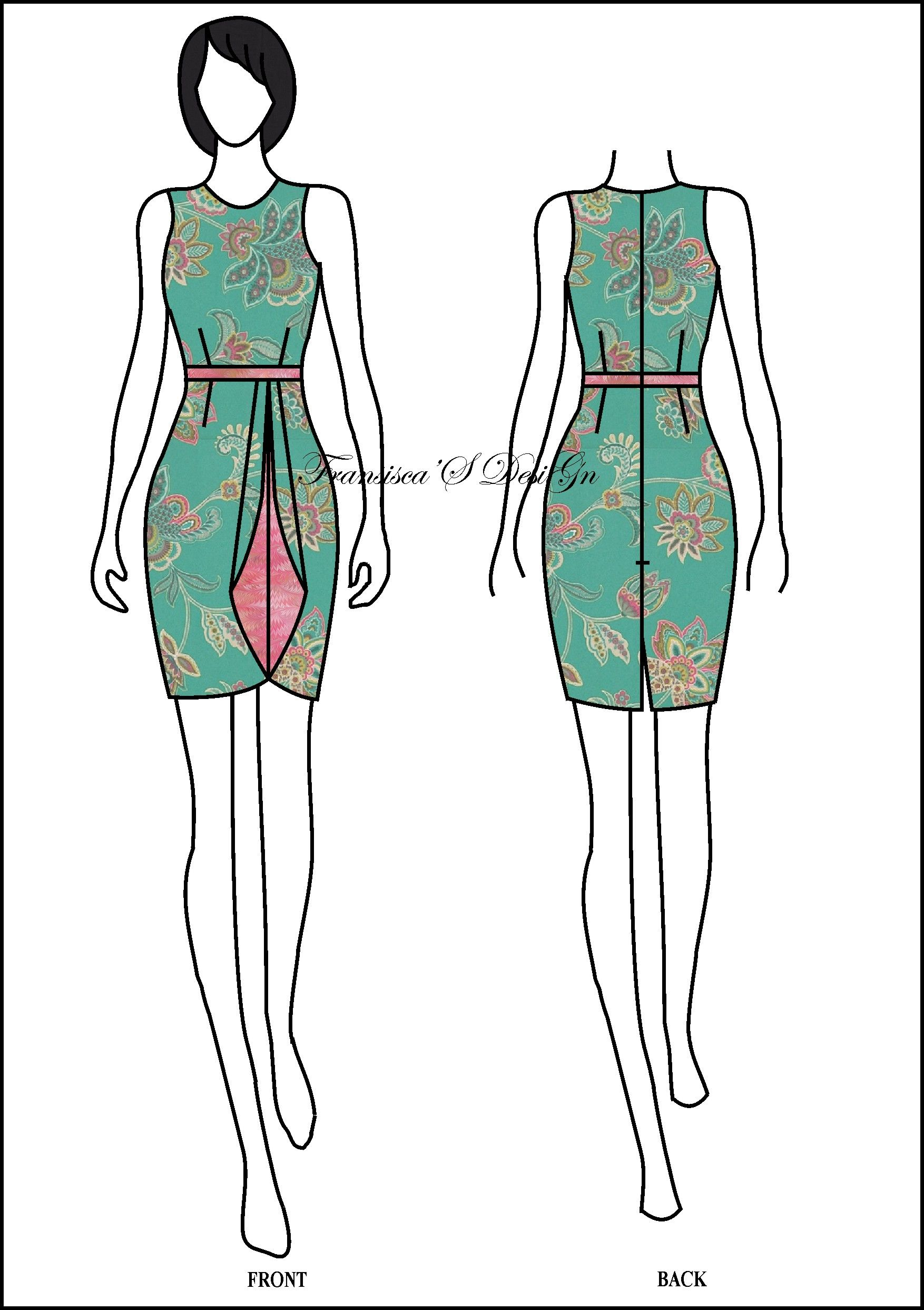Form-fitting batik dress sketch  Sketsa model pakaian, Desain