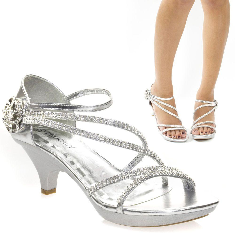 Sexy Silver Rhinestone Velcro Evening Wedding Prom Med Heel Sandal ...