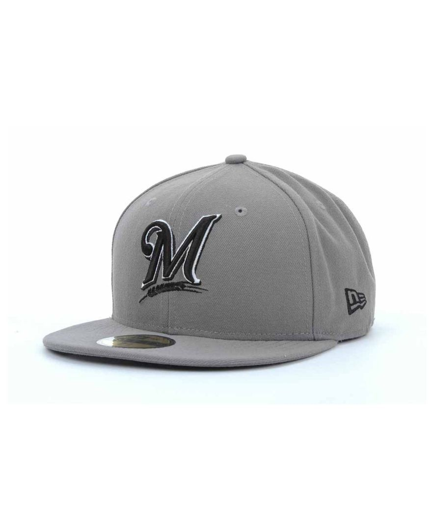 93c93555471 New Era Milwaukee Brewers Mlb Gray Bw 59FIFTY Cap
