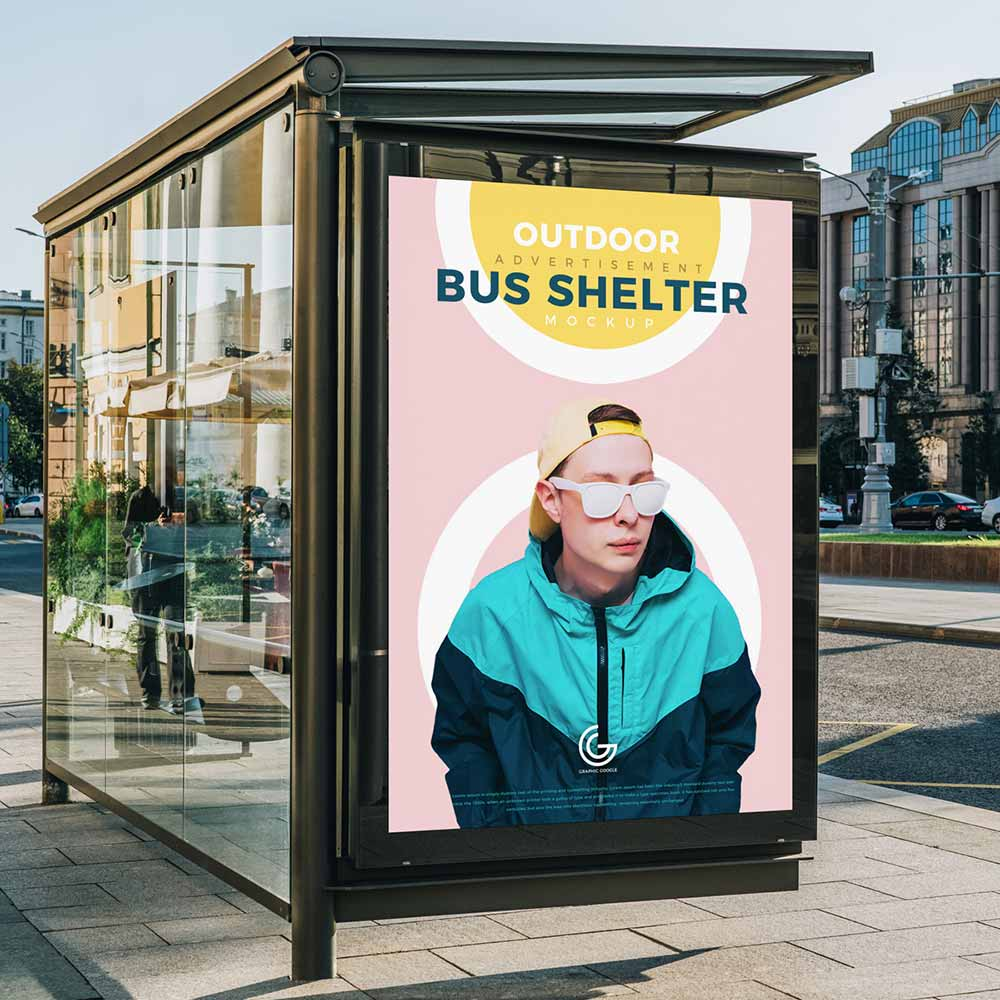 Free Outdoor Advertisement Bus Shelter Mockup Psd Mockuptree Bus Shelters Bus Mockup