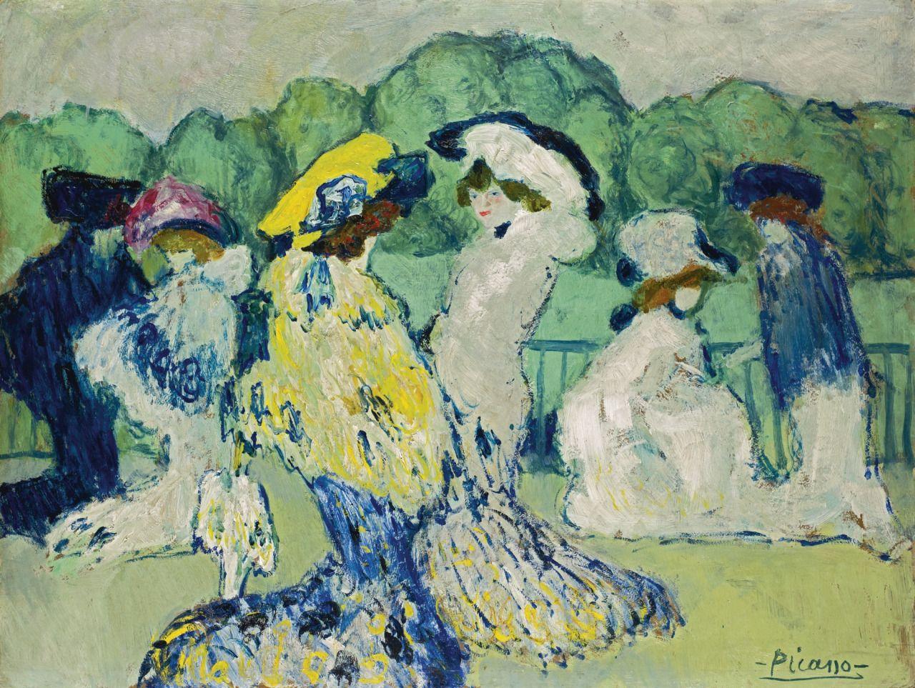 Pablo Picasso (Spanish, 1881-1973), Les Courses à Auteuil [The Races at Auteuil], Paris 1901. Oil on board, 47.2 x 62.4 cm.