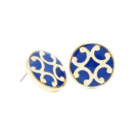 $18.00 Show off your fun sense of style with these navy button earrings adorned with gold horse shoes.